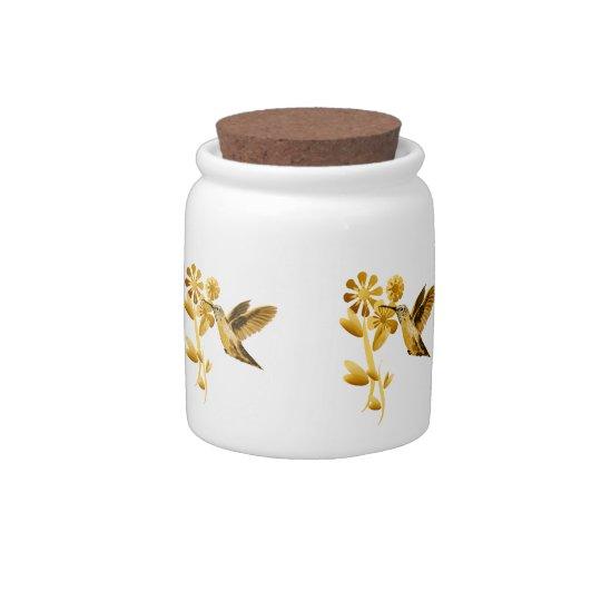 Gold Hummingbird Candy Jar