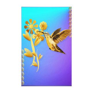 Gold Hummingbird Canvas Stretched Canvas Prints