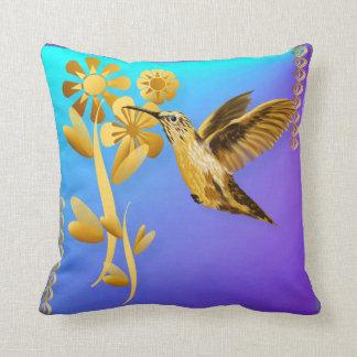 Gold Hummingbird Pillow