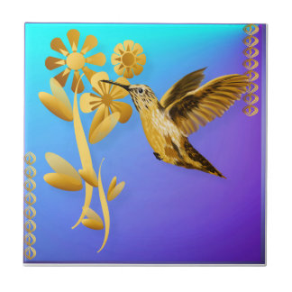 Gold Hummingbird Tile