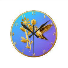 Gold Hummingbird Wall Clock