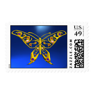 GOLD HYPER BUTTERFLY IN BLUE POSTAGE