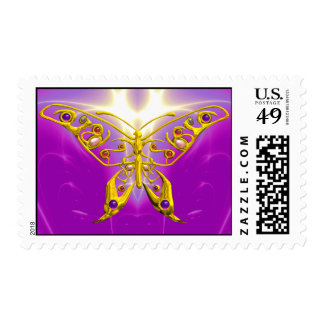 GOLD HYPER BUTTERFLY IN PINK FUCHSIA POSTAGE