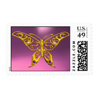 GOLD HYPER BUTTERFLY IN PINK POSTAGE