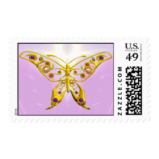 GOLD HYPER BUTTERFLY IN PINK WAVES POSTAGE