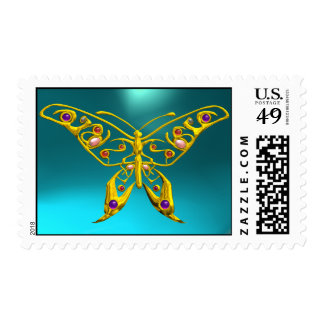 GOLD HYPER BUTTERFLY IN TEAL BLUE POSTAGE