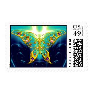 GOLD HYPER BUTTERFLY IN TURQUOISE BLUE POSTAGE