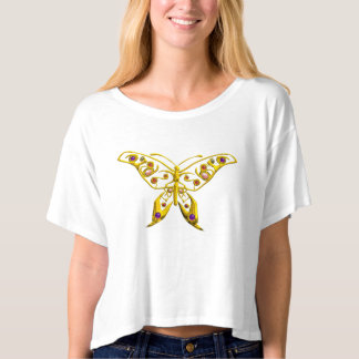 GOLD HYPER BUTTERFLY JEWEL WITH GEMSTONES T-SHIRT