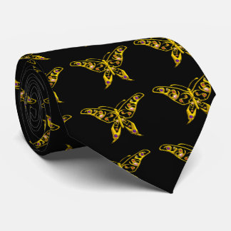 GOLD HYPER BUTTERFLY WITH GEMSTONES,Black Neck Tie