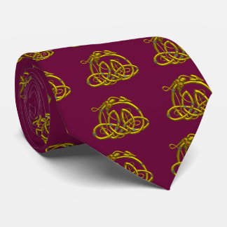 GOLD HYPER DRAGON WITH CELTIC KNOTS  ,Red Burgundy Tie