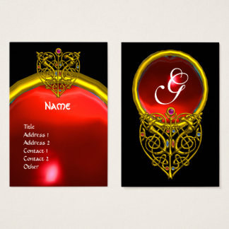 GOLD HYPER VALENTINE HEART RED RUBY MONOGRAM Black Business Card