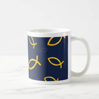 Gold Ichthus Pattern on Navy Blue Background Coffee Mug