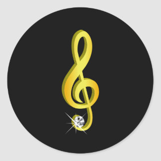 Gold Icon of a Musical Note G-Clef Classic Round Sticker