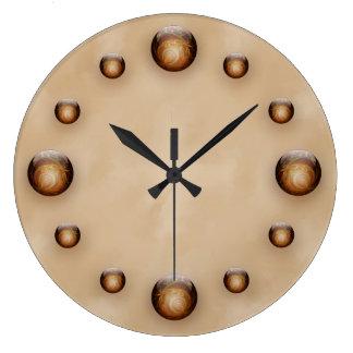 Gold, Illuminated Glass Gems against Tan Texture Large Clock