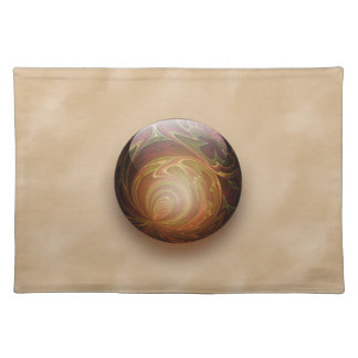 Gold Illuminated Spherical Gem Abstract Cloth Placemat