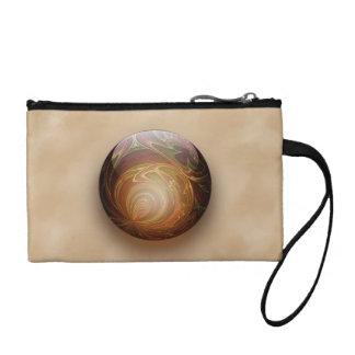 Gold Illuminated Spherical Gem Abstract Coin Purse