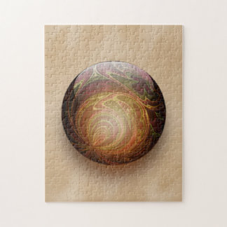 Gold Illuminated Spherical Gem Abstract Jigsaw Puzzle