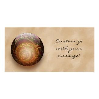 Gold Illuminated Spherical Gem, Custom Photo Cards