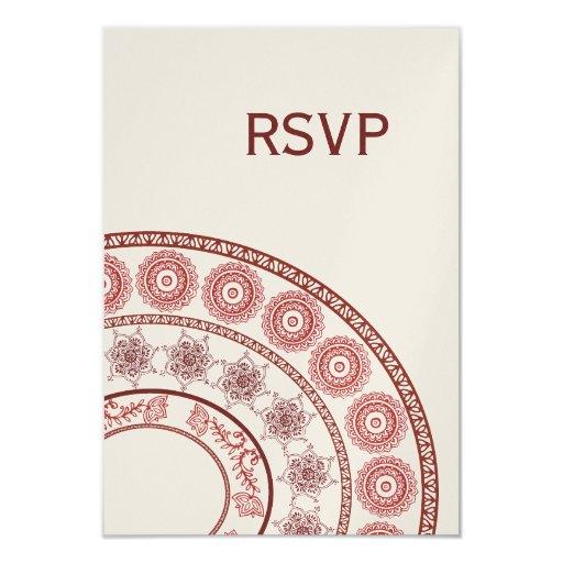 "Gold Indian Henna Mehendi Wedding RSVP Card 3.5"" X 5"" Invitation Card"