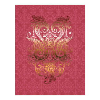 Gold Indian Ornament Damask fuchsia delux pattern Flyer