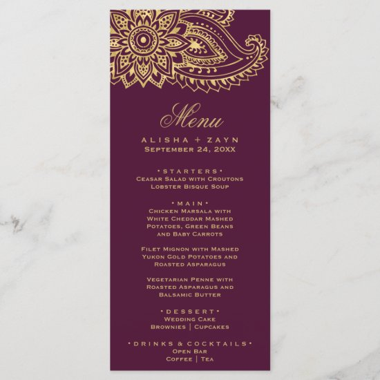 Gold Indian Paisley Dinner Menu Card