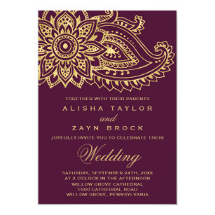 Gold Indian Paisley Wedding Invitation
