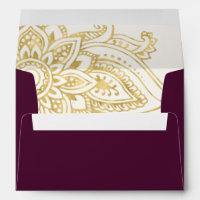 Gold Indian Paisley Wedding Invitation Envelope