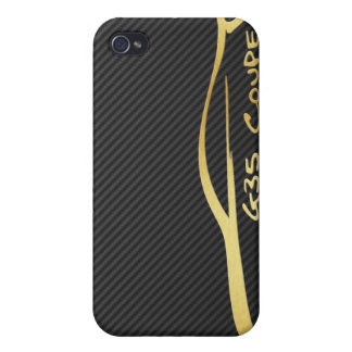 Gold Infiniti G35 Logo with Faux Carbon Fiber iPhone 4 Cases