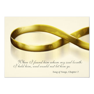 """Gold Infinity Rings 5"""" X 7"""" Invitation Card"""