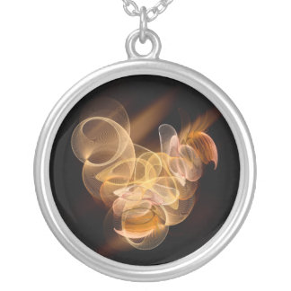 Gold info. never round pendant necklace