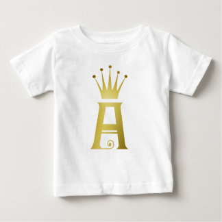 Gold Initial A Letter Monogram Baby Top Shirt