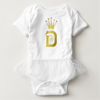 Gold Initial D Letter Monogram Crown Baby Tutu Baby Bodysuit