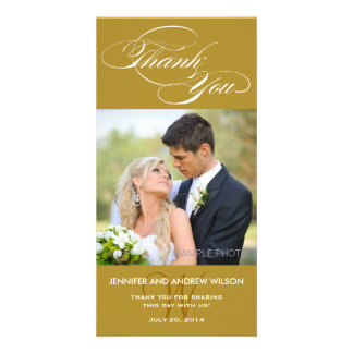 GOLD INITIAL SCRIPT WEDDING THANK YOU PHOTO CARD