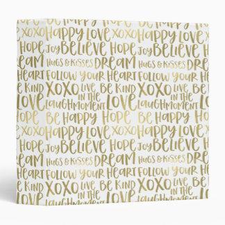 Gold Inspirational Words 3 Ring Binder