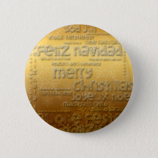 Gold International Christmas Greeting Button