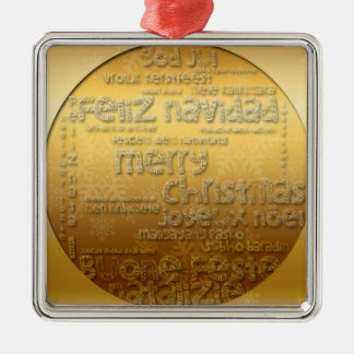 Gold International Christmas greeting Sq Ornament