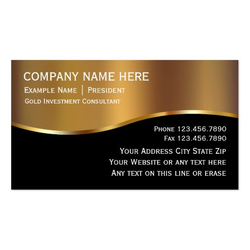 Gold Investment Business Cards Zazzle
