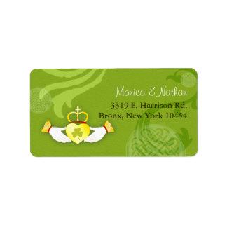 Gold Irish Claddagh Heart Green Wedding Label