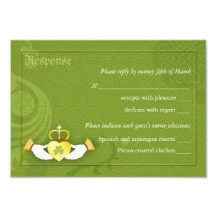 Gold Irish Claddagh Ring Wedding RSVP Card at Zazzle