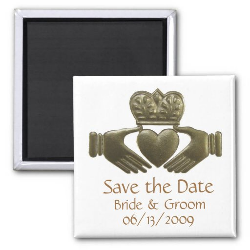 Gold Irish Claddagh - save the date Refrigerator Magnet