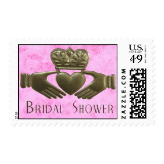 Gold Irish Claddagh with pink background Stamp