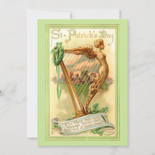 Gold Irish Harp Vintage St. Patrick's Day Holiday Matte Finish Greeting Card