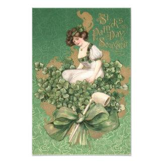Gold Irish Woman Green Bow Shamrock Clay Pipe Photo Print