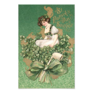Gold Irish Woman Green Bow Shamrock Clay Pipe Photographic Print