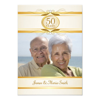 Gold & Ivory 50th Anniversary Party Invitations