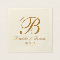 Gold | Ivory Custom Wedding Monogram Paper Napkin