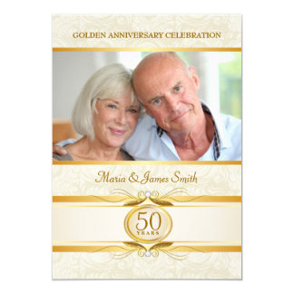 Gold & Ivory Damask 50th Anniversary Invitations