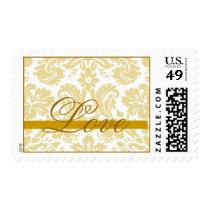 Gold Ivory Damask Love Wedding Postage