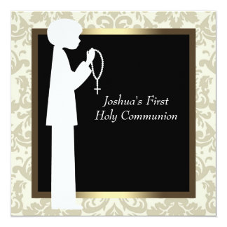 Gold Ivory Damask Rosary Boys First Communion Invite