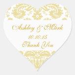 Gold Ivory Damask Wedding Favor Heart Sticker